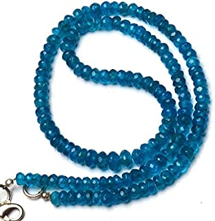 Super Rare Faceted Rondelle Beads Natural Neon Apatite Gems 17 Inch Full Strand 5 to 6MM Approx. Super Fine Quality Beads Neon Blue Color