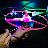 Biubee 3 Sets Flying Toys- Hand Control Colorful LED Light Processing Flash Flying Toys Funny Flash Pull Frisbee Flying Saucer Toys for Children Kids Indoor and Outdoor Use