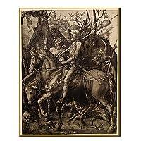 キャンバスアルブレヒトデューラー《騎士と死と悪魔》アートペインティングアートワーク写真モダンな壁の装飾家の寝室の装飾60x90cmフレームなし