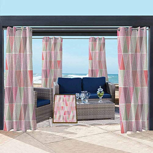 ParadiseDecor Peach Outdoor Polyester Drapes Outdoor Decor Colorful Geometric Design Triangles with Polka Dots Octagon Shape Pattern Triangular Multicolor 108W x 63L Inch