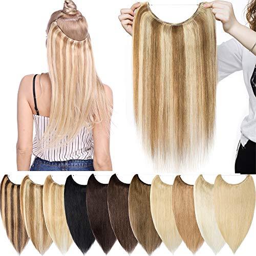 Extension à Fil Invisible Cheveux Naturel - Rajout 100% Cheveux Humain Remy Hair - Une Pièce Epaisseur Standard (#12+613 Marron clair Méché Blond très clair, 20 Pouces-70g)
