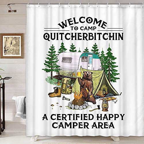 Funny Camper Shower Curtain, A Bear Drink Beer Camping Trailer Rv Tent Campfire in Forest Woodland Welcome to Camp Quitcherbitchin Quote Bathroom Curtain, Fabric Camping RV Shower Curtain 69X75IN