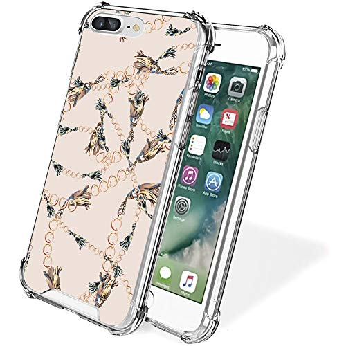 FAUNOW Funda protectora para iPhone 7/8 Plus, de cuatro esquinas, a prueba de golpes y caídas, TPU + PC, diseño de cadena dorada ultrafina, ajuste protector