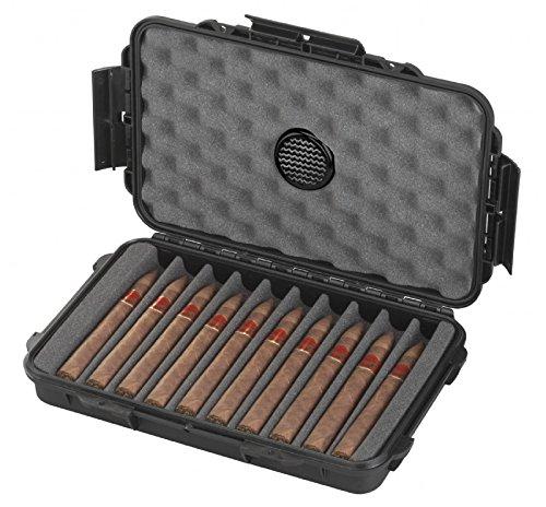 MC-CASES ® Hochwertiger und Exklusiver Reisehumidor für Zigarren - Wasserdicht - Staubdicht - Aus robuster Hartschale - Made in Germany (10 Zigarren)