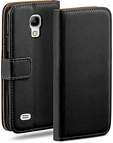 moex Klapphülle für Samsung Galaxy S4 Mini Hülle klappbar, Handyhülle mit Kartenfach, 360 Grad Schutzhülle zum klappen, Flip Hülle Book Cover, Vegan Leder Handytasche, Schwarz
