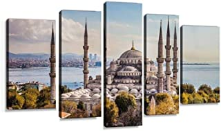 XEPPO Sultan Ahmet camii Blue Mosque in Istanbul Sacred Places and Prints Canvas Wall Art Abstract Landscape Photography Paintings for Modern Home Decor 5Pcs Modern Stretched and Framed