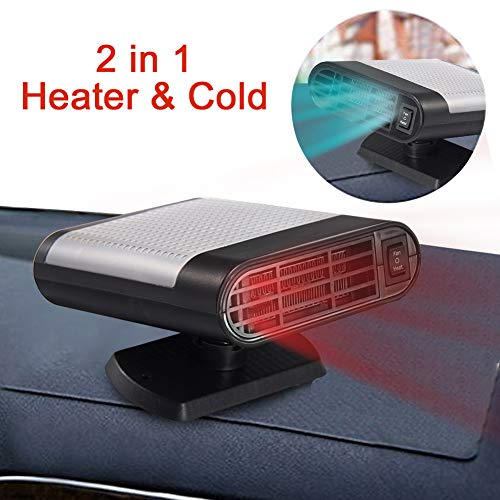 Portable Car Heater, 60 Seconds Fast Heating Quickly Cooling Fan 12V 150 W Auto Defogger Defroster Plug in Cig Lighter with 360° Rotating Base (Black Gray)