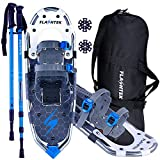 FLASHTEK 30 Inches Snowshoes for Men and Women Lightweight Snowshoes with Poles for Hiking Heel Lift Riser for Mountaineering + Free Carrying Bag (Gray)