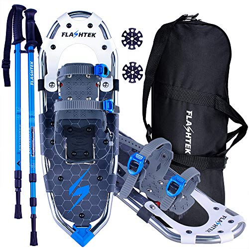 FLASHTEK 25/30 Inches Lightweight Snowshoes for Men Women Youth, Aluminum Terrain Snow Shoes for Hiking and Heel Lift Riser for Mountaineering with Trekking Poles and Carrying Tote Bag (Grass Green)