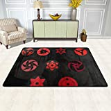 3D DIY Anti-Skid Area Rug 72'x 48', Anime Naruto Uchiha Sharingan Eyes with Itachi Sasuke Mat Carpet Washable, Ultra Large Door Mats for Indoor Outdoor Living Room