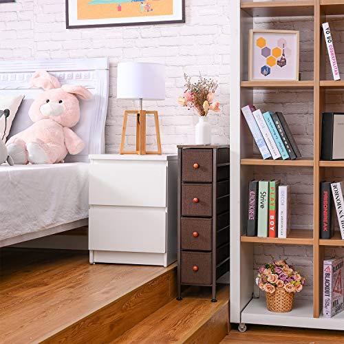 Romoon Narrow Closet Organizer, 4 Drawer Fabric Storage Bins, Tall Storage Dresser, Closet Organizer Shelves with Drawers for Bedroom, Hallway, Entryway, Closet, Nurseries-Espresso