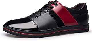 2019 Mens New Lace-up Flats Men's Casual Personality Stitching Low Top Lace-up Patent Leather Formal Shoes Fashion Oxford
