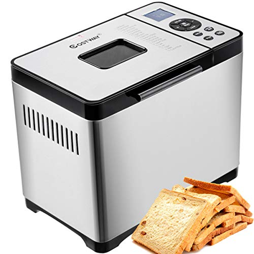 COSTWAY Bread Maker Stainless Steel Automatic Programmable Multifunctional Bread Machine with 19 Programs, 3 Loaf Sizes, 3 Crust Colors, 15...