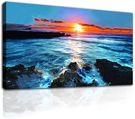 None Brand Ocean Sunset Landscape Wall Art Blue Seascape Picture Canvas Print Painting Home product image