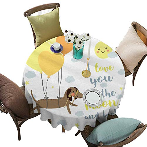 Round Waterproof Tablecloths, Dog with Balloons and Concept Hearts Sun Clouds Puppy Best Friends, 63 Inch Round Great for Buffet Table/Parties/Holiday Dinner, Yellow Cocoa Blue Grey