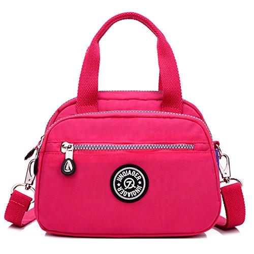 Outreo Donna Borsa del messaggero sacchetto impermeabile Tracolla leggero Croce Body Bag casuale Satchel Piccolo Rosso 2