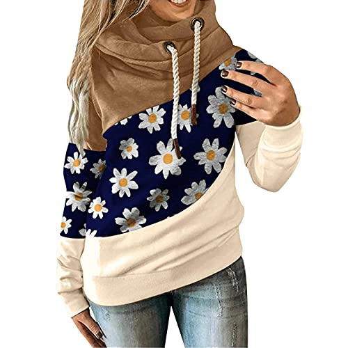 Hoodies for Women Pullover Patchwork Hooded Sweatshirt Color Block Leopard Blouse Fall Long Sleeve Tops