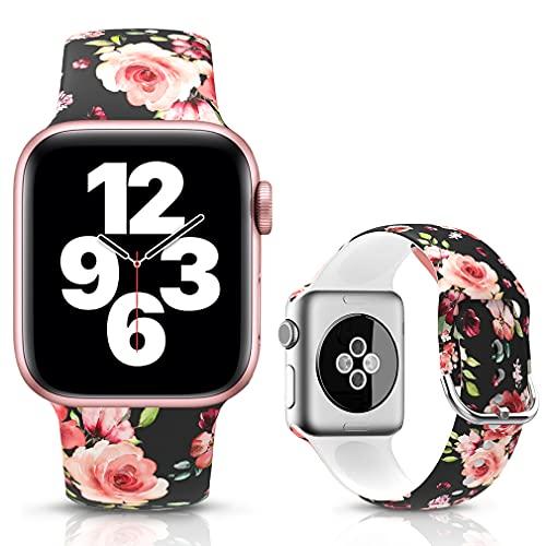 LJLB Sportivo Cinturino Compatibile con Apple Watch Cinturini 38mm 40mm, Cinturino da Polso di Ricambio con Motivo Floreale Stampato in Silicone per iWatch SE Series 6/5/4/3/2/1, S/M Pink Rose