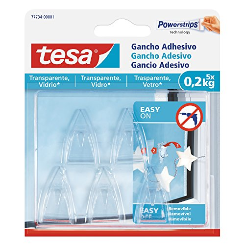tesa 77734 – 00001 – 00 – haken zelfklevend voor oppervlakken transparant en glas (0,2 kg)