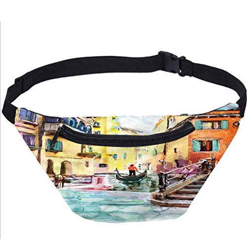 Urban Travel Fanny Bag,European City with River Boat Waist Pack Travel Crossbody Hip Bag