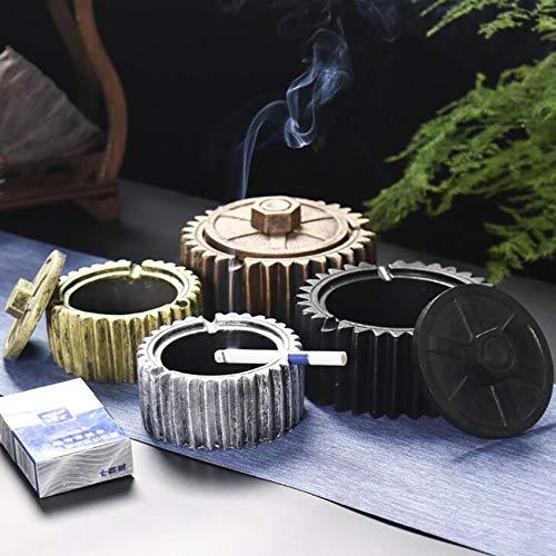 Cenicero de cerámica con tapa, estilo de engranaje redondo para exteriores e interiores, soporte para ceniceros de cigarrillos, bandeja para cenizas de cigarrillos, S, L (color: L sin tapa)