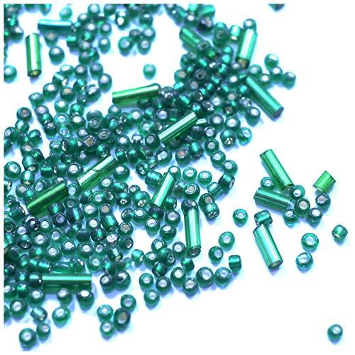 Perlas verdes de cristal checo, espaciador, perlas de cristal (600 + tubos y rocallas de 2 mm)