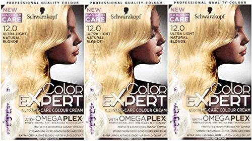3 x Schwarzkopf Color Expert omegaplex Haarfarbe, 12.0 Ultra Light Natural Blonde