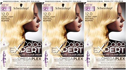 3 x Schwarzkopf Color Expert omegaplex Haarfarbe, 12.0 Ultra Light Natural Blonde