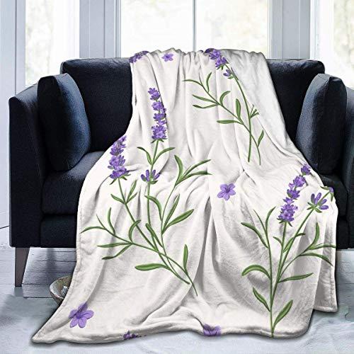 Mantas de Forro Polar de Franela de Sherpa Extra Suaves, Bata para Cama, sofá, Silla, Dormitorio, Manta usable tamaño King (púrpura Lavanda Floral Blanco)