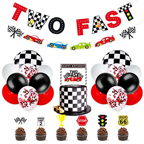 Race Car Two Fast Party Decorations Supplies Racing Theme 2th Birthday Party Banner Race Car Second Birthday Cake Topper Checkered Flags Balloons for Let's go Racing Theme Sports Event Party Supplies