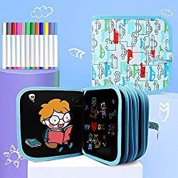 HighFun Erasable Drawing Pad Road Trip Activities Car Travel Airplane Activities Game for Kids Toddlers Ages 2 3 4 5 6 7 8 and Up,Reuse Portable Writing Board with 4 Drawing templates