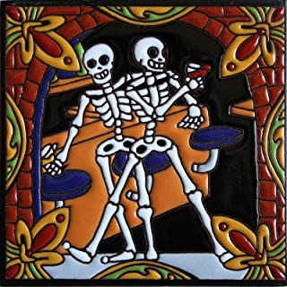 Fine Crafts Imports 6x6 Wine Tasting. Day-of-The-Dead Clay Tile