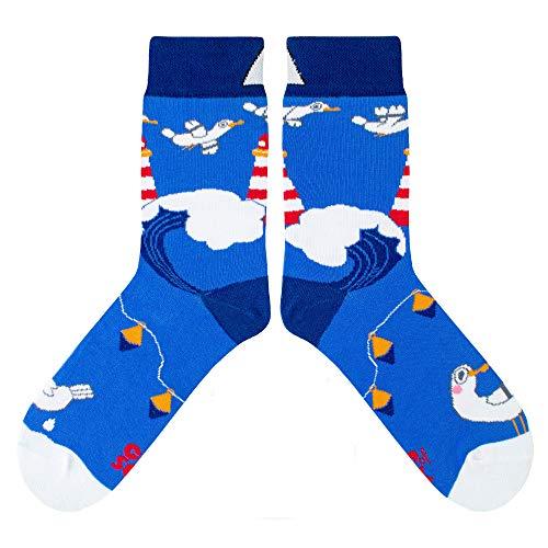 CUP OF SOX Herren Damen Lustige Socken mit Möwe - Gemusterte Bunte Geschenk Socken aus hochwertige Baumwolle (Blau, 37-40)