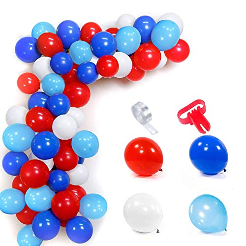 103 Pieces Balloons Arch Set, Red White Light Blue Blue Balloons, with Balloon Stripe Tape Kit Tool, Balloon Garland Kit, for Birthday Party, Graduations Party