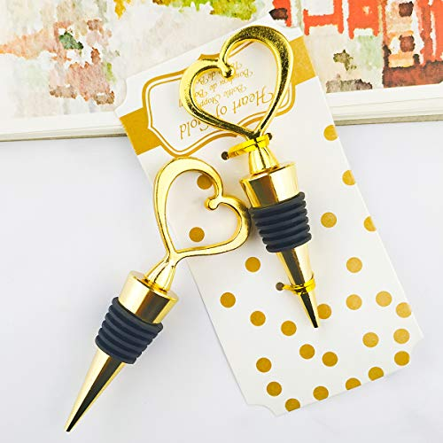 12PCS Wedding Favor for Guests,Matal Alloy Heart Wine Bottle Stopper Champagne Saver with Gift Box for Party Souvenirs Gift Supplies Decoration by WeddParty (Heart Golden)