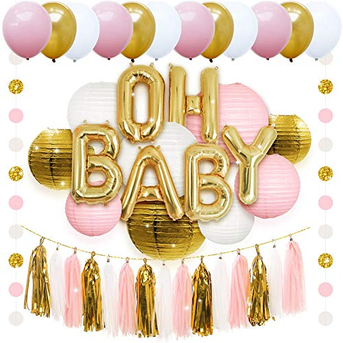 Birthday Party Decorations Mix Color Air Balloons Paper Lantern Tassel Confetti Baby Shower Boy Birthday Party Baby Shower Decor Kids,Pink