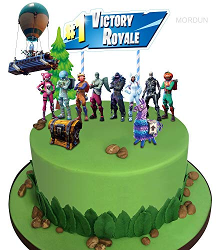 MORDUN Video Game Cake Toppers Kit - Llama Loot Chest Cake Decorations - Birthday Party Supplies for Gamers Boys Girls Kids