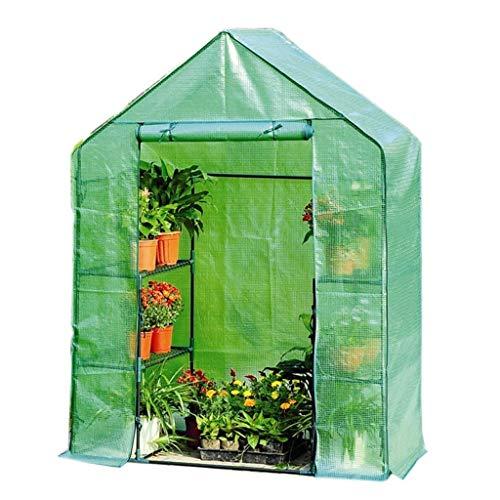 Serres de Jardin Tunnel Cottage Greenhouse - Mini à 3 Niveaux avec Couvercle résistant, 143 × 73 × 195 cm Tomate (Couleur : Green)