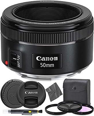 Canon EF 50mm f1.8 STM: (0570C002) Nifty Fifty EF 50 mm f/1.8 Stepper Motor Full Frame Prime Lens + AOM Pro Starter Kit - International Version (1 Year AOM Warranty) from AOM