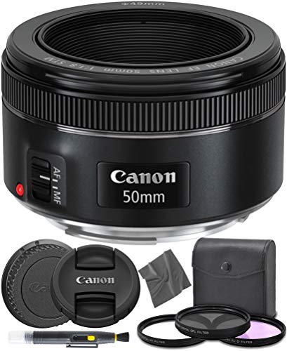 Canon EF 50mm f1.8 STM: (0570C002) Nifty Fifty EF 50 mm f/1.8 Stepper Motor Full Frame Prime Lens + AOM Pro Starter Kit - International Version (1 Year AOM Warranty)
