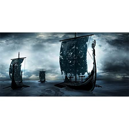 AOFOTO 5x7ft Pirate Ship Backdrop Vintage Halloween Sea Rover Jolly Roger Corsair Boat Photography Background Gloomy Moon Night Boy Kid Child Birthday Party Events Decorations Photo Shoot Props Vinyl