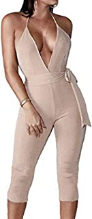 YAMIC Womens Sexy Sparkly Jumpsuits Halter V Neck Bacekless Rompers with Belt