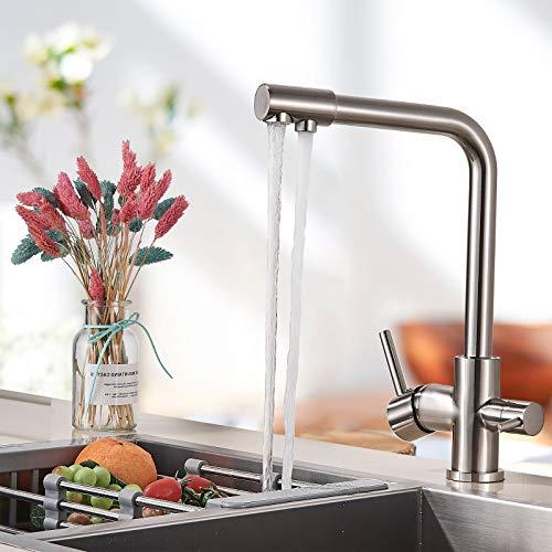 JUNSHENG - Grifo de cocina giratorio de 3 vías, 360 °, para agua fría y caliente, grifo de cocina, mezclador para agua, filtro de cocina, 3 en 1, níquel cepillado (latón)