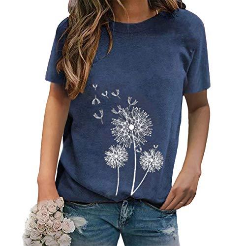 DOBEI Oberteile Damen Sommer Kurzarm Rundhals Elegante Basic T-shirt Bluse Oversized Pusteblume Löwenzahn Leinen Lose Tunika Tops Hemdbluse Frauen beiläufig lässig Blumenmuster Übergröße Lose Blusetop