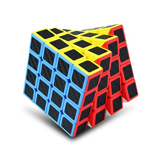 Moyu Professional 4x4 Speed Cube Carbon Fiber Stickers - Amazing Puzzle for competitions (444 Carbon Fiber)
