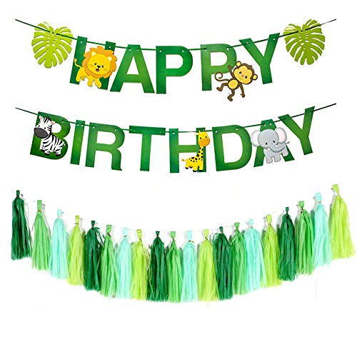 Dusenly Happy Birthday Banner Jungle Animals Paper Bunting Tassel Garland Set for Forest Theme Birthday Party Supplies