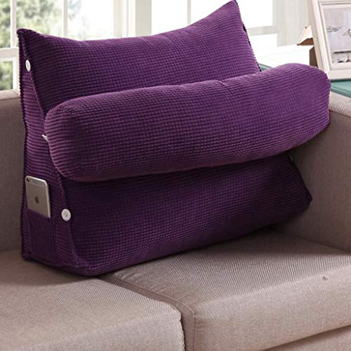 Auto lumbale kussen Wedge Pillow Verstelbare Bank Triangle Bed Grote Kussen Office Taille Kussen Bed nekkussen bankhoofdkussen grote kussen (Color : Purple, Size : Length 45cm)