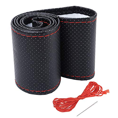 Cubierta funda volante para coche universal de tela y cuero negro e hilo rojo microfibra 37-38cm diámetro con aguja e hilo