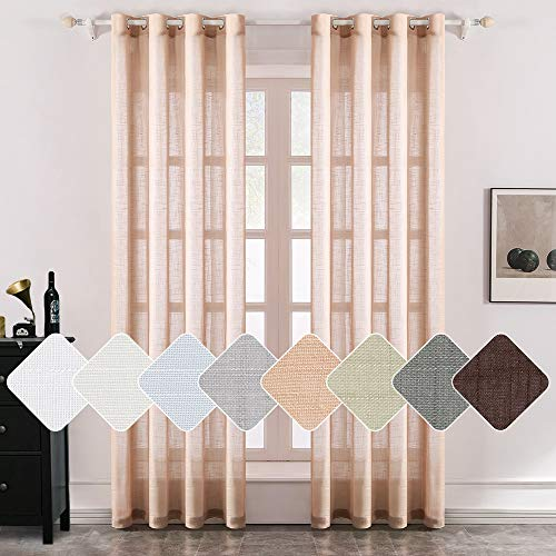 MIULEE 2 Panels Natural Linen Semi Sheer Window Curtains Elegant Solid Light Salmon Drapes Grommet Top Window Voile Panels Linen Textured Panels for Bedroom Living Room (52X45 Inch)