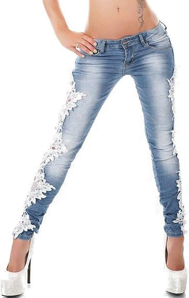Women Fashion Sexy Lace Hollow Out Floral Appliques Skinny Low Rise Denim Jeans Pencil Pants